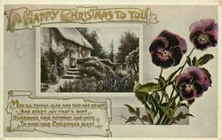 A HAPPY CHRISTMAS TO YOU  cottage, pansies