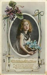 CHRISTMAS GREETINGS   girl holds a basket of blue forget me nots, violets around
