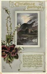 CHRISTMAS GREETINGS  inset mountains, castle ruin, swans, row-boat, pansies & white heather on left