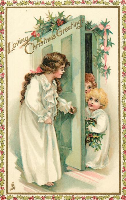 LOVING CHRISTMAS GREETINGS  girl opens door to two children