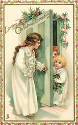LOVING CHRISTMAS GREETINGS  girl opens door to two children