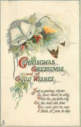 CHRISTMAS GREETINGS AND ALL GOOD WISHES  bells upper left, two robins fly