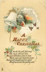 A HAPPY CHRISTMAS  single bell, 4 robins, holly & ivy
