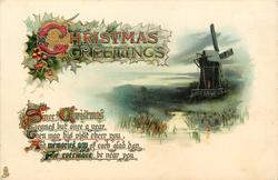 CHRISTMAS GREETINGS  windmill