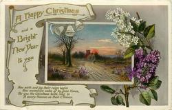 A HAPPY CHRISTMAS AND A BRIGHT NEW YEAR TO YOU  inset road leading to church at sunset, lilac