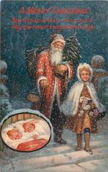 A MERRY CHRISTMAS  Santa walks front with, girl carrying books, inset of two sleeping children