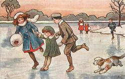 boy & girl run on ice, supporting small gril who slides, dog front right, three distant children