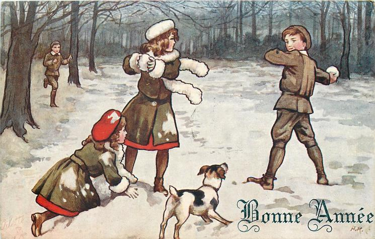 3 children throw snowballs, dog front centre, boy runs in from back/left