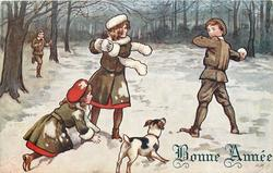 3 children throw snowballs, dog front centre, boy runs in from back/left