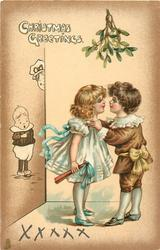 CHRISTMAS GREETINGS  young boy & girl about to kiss under mistletoe