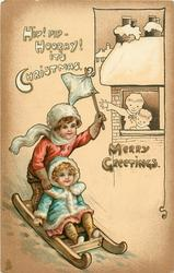 MERRY GREETINGS  boy & girl toboggan down-hill