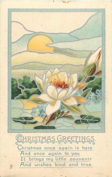 CHRISTMAS GREETINGS  rising sun behind water lily