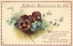 A HAPPY CHRISTMAS TO YOU  pansies & forget-me-nots