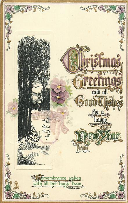 CHRISTMAS GREETINGS  cottage behind trees