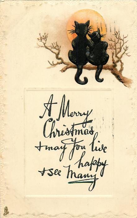 A MERRY CHRISTMAS  two black cats on tree branch sit facing away at moon