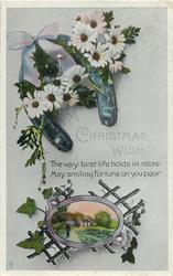 A CHRISTMAS WISH  horse-shoe, daisies, rural insert