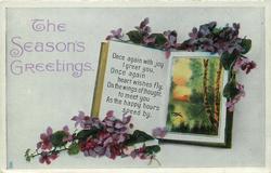 THE SEASON'S GREETINGS  violets, rural insert