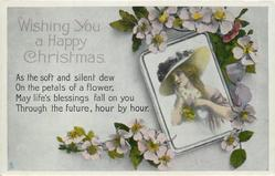 WISHING YOU A HAPPY CHRISTMAS  glamour insert, floral surround