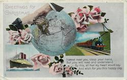 GREETINGS FOR CHRISTMAS  globe, train, ship, clasped hands