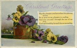 CHRISTMAS GREETINGS  pansies