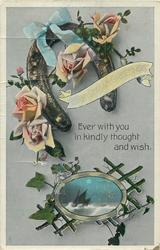 CHRISTMAS GREETINGS  horseshoe, roses, seascape inset