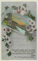 GREETINGS FOR CHRISTMAS  dasies around rural inset