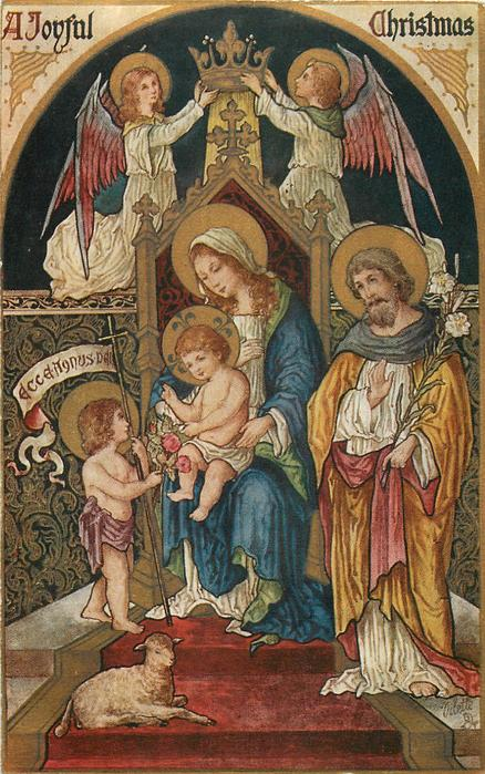 A JOYFUL CHRISTMAS  medieval art, the Holy Family, angels above