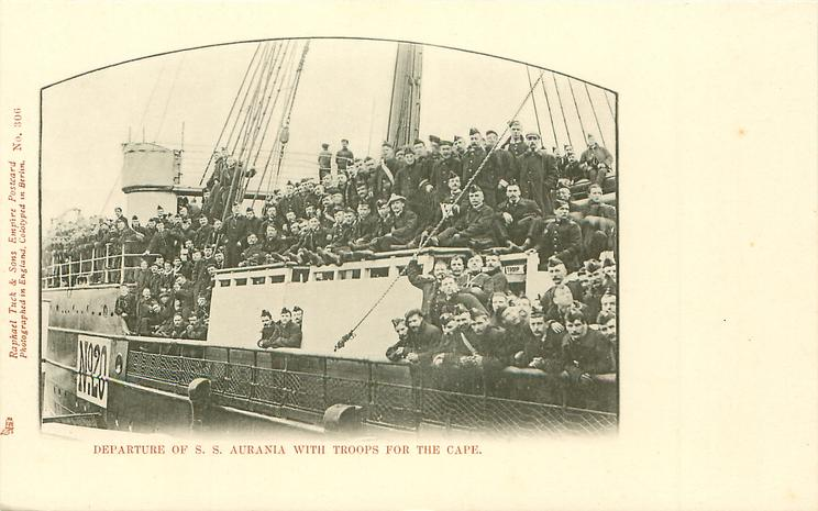 DEPARTURE OF S.S. AURANIA WITH TROOPS FOR THE CAPE