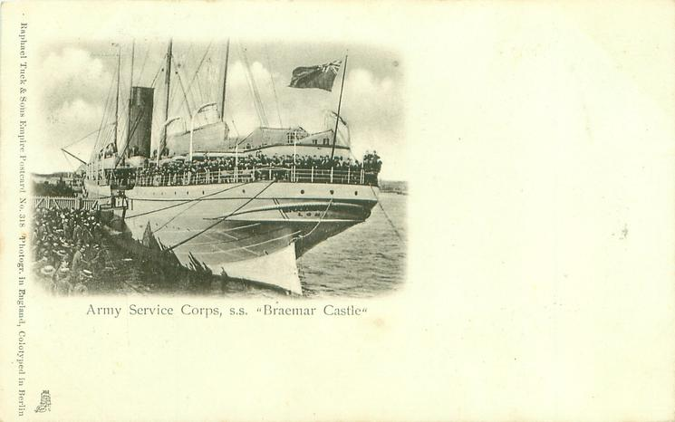 """ARMY SERVICE CORPS, S.S. """"BRAEMAR CASTLE"""""""