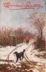 THE ENTRANCE TO THE LANE, COMING FROM THE VILLAGE  girl follows dog walking forward in snowy lane
