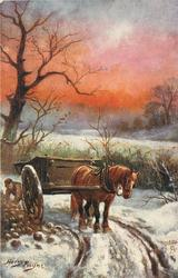 FOOD FOR THE WINTER  horse & cart, man behind, mangolds left