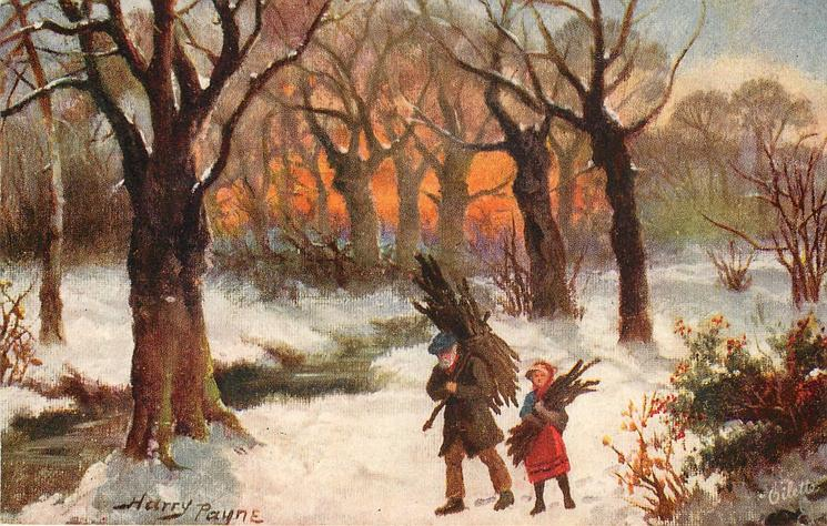 WINTER FIRING  old man & girl collect firewood in snowy woods