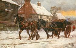 A HEAVY LOAD  man leads two-horse cart left along snowy village street