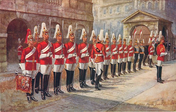 THE FOUR O'CLOCK PARADE AT THE HORSE GUARDS, 1ST LIFE GUARDS