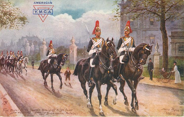 THE ROYAL HORSE GUARDS COMING OFF KINGS GUARD AT WHITEHALL PASSING BUCKINGHAM PALACE
