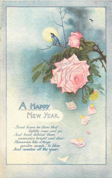 A HAPPY NEW YEAR  pink rose, nightingale sings to moon