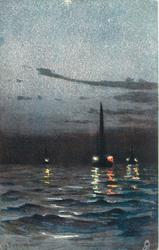 night scene on open water, lights on boats are visible