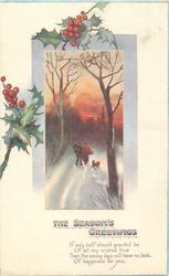 THE SEASON'S GREETINGS  man, woman & dog walk front down snowy road