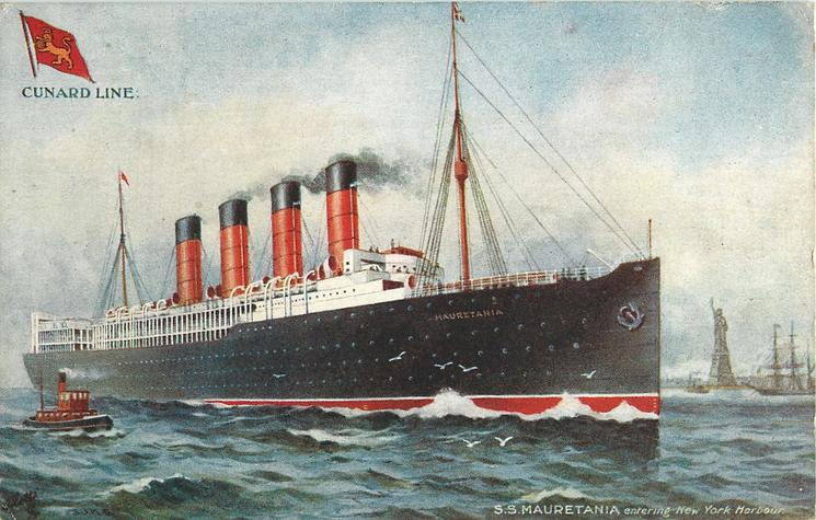 S.S.MAURETANIA ENTERING NEW YORK HARBOUR