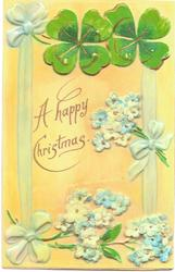 A HAPPY CHRISTMAS  4 leaf clover, forget-me-nots, blue ribbons