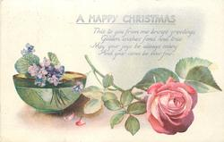 A HAPPY CHRISTMAS  pink rose, bowl of violets