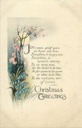 CHRISTMAS GREETINGS  bluebells flowers & blossom, full moon