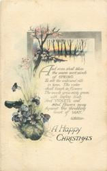 A HAPPY CHRISTMAS  violets, watery rural inset