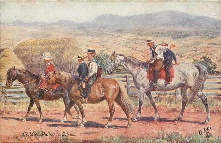 CHILDREN RIDING TO SCHOOL