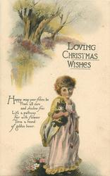 LOVING CHRISTMAS WISHES   girl stands holding cat, trees & meadow upper left
