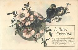A HAPPY CHRISTMAS  pink dog roses & two birds