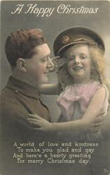 A HAPPY CHRISTMAS  soldier left, girl wears his cap salutes &  embraces him, he looks right, she front