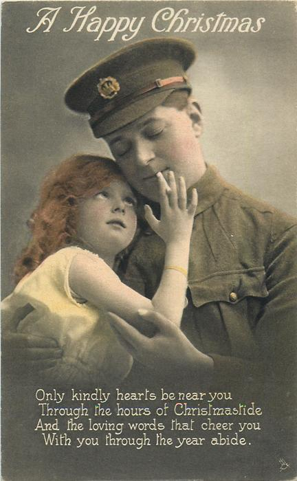 A HAPPY CHRISTMAS  soldier right wears cap, girls right hand holds his cigarette