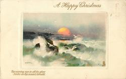A HAPPY CHRISTMAS  setting sun, waves, rocks & shore left, gulls