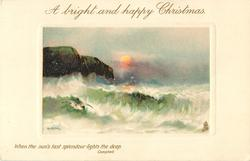 A BRIGHT AND HAPPY CHRISTMAS  setting sun, cliffs left, gull